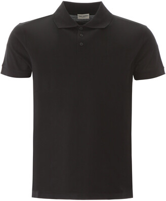 Saint Laurent POLO SHIRT WITH EMBROIDERED LOGO L Black Cotton