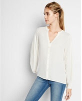 Express pleated long sleeve band collar shirt
