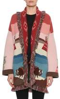 Alanui Lunar Phases Jacquard Open-Front Cashmere Cardigan with Fringe