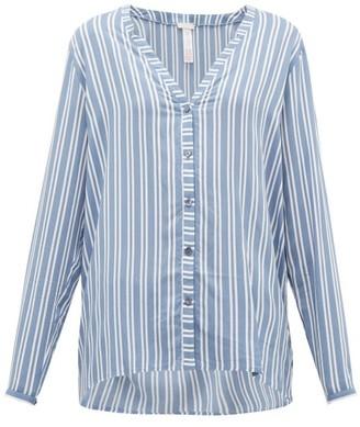 Hanro Striped Poplin Pyjama Top - Womens - Blue Stripe