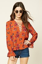 Forever 21 FOREVER 21+ Floral Print Lace-Up Top