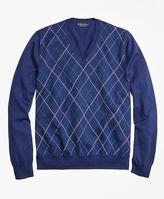 Brooks Brothers Supima® Cotton Double Raker V-Neck Sweater
