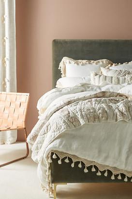 Anthropologie Tasseled Linen Duvet Cover By in White Size KG TOP/BED