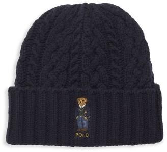 Polo Ralph Lauren St. Andrew Aran Bear Embroidery Beanie Hat