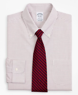 Brooks Brothers Stretch Regent Fitted Dress Shirt, Non-Iron Poplin Button-Down Collar Small Grid Check