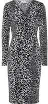 MICHAEL Michael Kors Wrap-effect Leopard-print Stretch-jersey Dress - Black