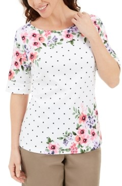 Karen Scott Printed Elbow-Sleeve Top, Created for Macy's