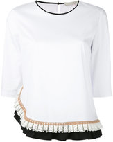 L'Autre Chose ruffled trim T-shirt - women - Cotton/Polyamide/Spandex/Elastane - 40
