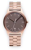 Uniform Wares C36 Women's date watch in PVD rose gold with mist textured calf leather strap
