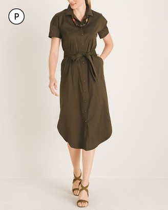 Chico's Petite Poplin Utility Shirtdress
