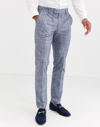 ASOS DESIGN wedding skinny suit trousers in dark blue crosshatch