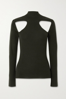 Dion Lee Cutout Merino Wool Turtleneck Sweater - Dark green