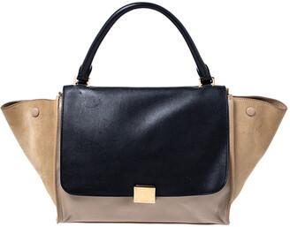 Celine Beige/Black Leather and Suede Medium Trapeze Bag
