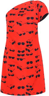 Victoria Victoria Beckham One-shoulder Printed Cotton-blend Taffeta Mini Dress