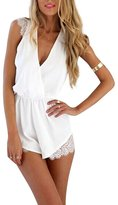 Fashion Story Women Deep V-neck Lace Sleeveless Off Shoulder Beach Short Jumpsuit Rompers