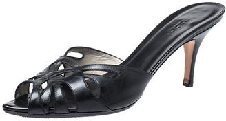 Gucci Black Leather Cutout Slide Sandals Size 36