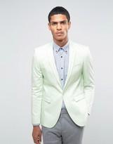 Asos Skinny Blazer In Cotton Sateen In Mint