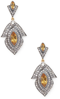 Artisan Designer leaf shape Earring with Citrine and Diamond