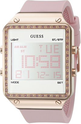 GUESS Rose Gold-Tone Pink Digital Stain Resistant Silicone Watch. with Day Date 24 Hour Military/Int'l Time Dual Time Zone + Alarm. Color: Pink (Model: U0700L2)