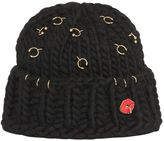 Maria Francesca Pepe Wool Knit Beanie With Piercings