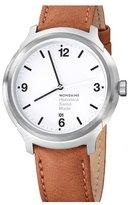 Mondaine 'Helvetica No.1 Bold' Round Leather Strap Watch, 43mm