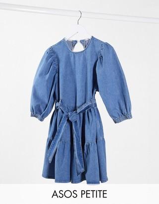 ASOS DESIGN Petite denim mini smock dress with self belt in mid wash blue