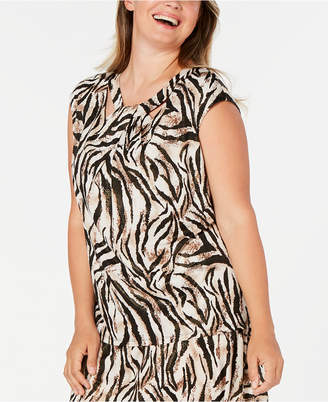 Kasper Plus Size Animal-Print Top