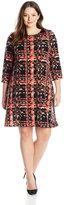 Tiana B Women's Plus-Size Abstract Printed Trapeze Dress with 3/4 Sleeves, Black/Coral
