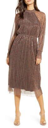 Vero Moda Alexandra Shimmer Plaid Long Sleeve Dress