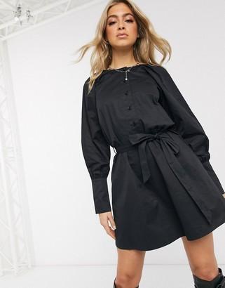 NA-KD cotton poplin balloon sleeve mini dress in black