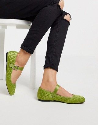 ASOS DESIGN Learn quilted mary jane ballet flats in green
