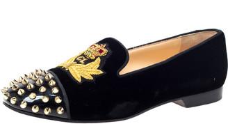 Christian Louboutin Black Velvet and Patent Spiked Cap Toe Harvanana Smoking Slippers Size 37.5