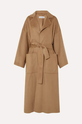 Loewe Oversized Belted Wool And Cashmere-blend Coat - Camel