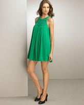 Pleated Swirl A-Line Dress