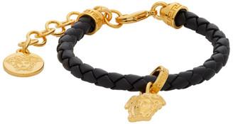 Versace Black and Gold Medusa Braided Bracelet