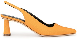 BY FAR Diana plisse slingback pumps