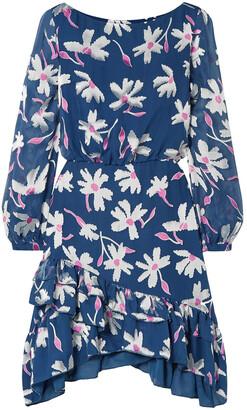 Saloni Felicia Ruffled Fil Coupe Silk-blend Chiffon Mini Dress