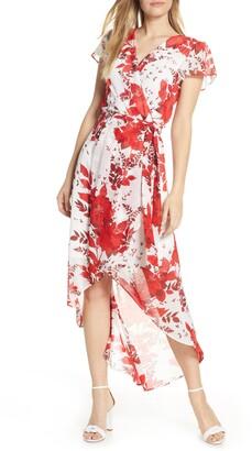 Julia Jordan Wrap Front Tie Waist Short Sleeve Dress