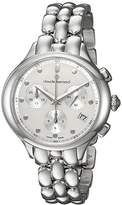 Claude Bernard Women's 'Code Chronograph' Swiss Quartz Stainless Steel and Leather Dress Watch, Color:Silver-Toned (Model: 10232 3M AIN)