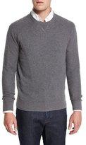 Neiman Marcus Mixed-Textured Crewneck Sweater, Granite
