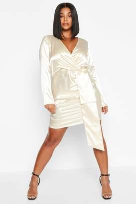 boohoo Plus Satin Plunge Ruched Wrap Dress