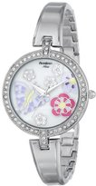 Swarovski Armitron Women's 75/5183MPSV Crystal Accented Butterfly and Flower Design Silver-Tone Bangle Watch