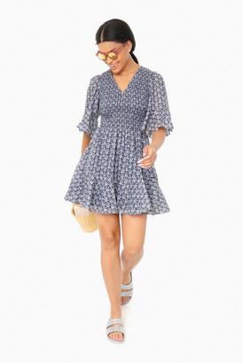 La Vie Rebecca Taylor Soft Indigo Combo Short Sleeve Petula Smock Dress