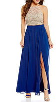 B. Darlin Beaded Halter Neck Illusion-Yoke Top High-Waist Chiffon Skirt Two-Piece Long Dress
