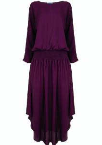 Jane Says - Purple Plain Jane Midi Dress - XS - Purple