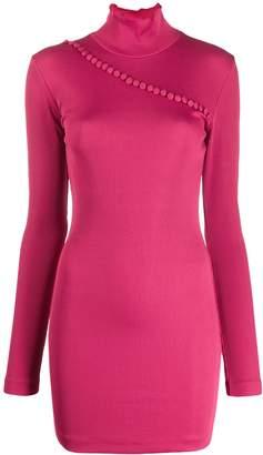 ROTATE mock-neck button jumper dress