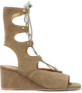 Chloé Lace-up Suede Wedge Sandals - Army green