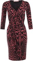 6609-CORBLK-18:: KRISP 3/4 Wrap Jersey Midi Dress