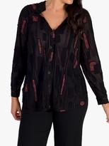Chesca Dotty Burnout Jersey Notch Neck Shirt, Black/Orange