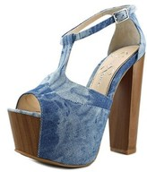 Jessica Simpson Dany Women Open Toe Canvas Blue Platform Heel.